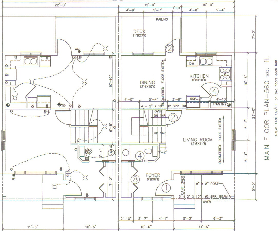 1000plans in stock next day delivery for Corner lot duplex plans